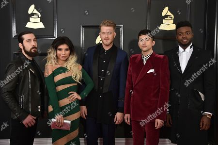 Stock Image of Mitch Grassi, from left, Kirstin Maldonado, Scott Hoying, Avi Kaplan, and Kevin Olusola of the musical group Pentatonix arrive at the 59th annual Grammy Awards at the Staples Center, in Los Angeles