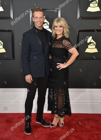 Bernie Herms, left and Natalie Grant arrive at the 59th annual Grammy Awards at the Staples Center, in Los Angeles