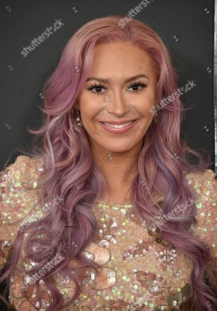 Kaya Jones arrives at the 59th annual Grammy Awards at the Staples Center, in Los Angeles