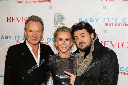 """Sting, from left, Trudie Styler, and Vittorio Grigolo attend """"Baby It's Cold Outside,"""" the 2016 Revlon Holiday Concert for The Rainforest Fund Gala at The Essex House, in New York"""