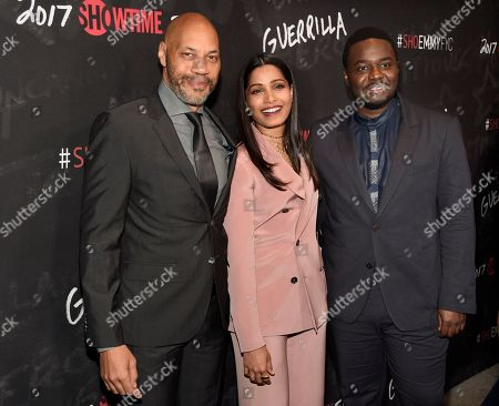 "John Ridley, left, executive producer of ""Guerrilla,"" poses with cast members Freida Pinto, center, and Babou Ceesay at a ""For Your Consideration"" event for the Showtime series at the Directors Guild of America, in Los Angeles"