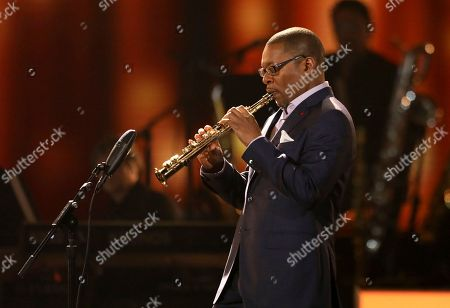 Stock Picture of Ravi Coltrane performs at the 59th annual Grammy Awards, in Los Angeles