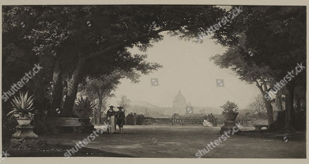 Terrace of the Villa Doria Pamphili, Rome, Photogravure Print from the Original 1864 Painting by Auguste Paul Charles Anastasi, The Masterpieces of French Art by Louis Viardot, Published by Gravure Goupil et Cie, Paris, 1882, Gebbie & Co., Philadelphia, 1883