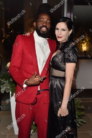 Roy Luwolt and Jill Kargman attend the Footwear News Achievement Awards at the IAC on November 28, 2017 in New York