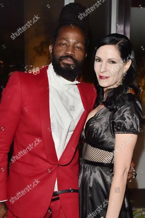 Roy Luwolt and Jill Kargman attends the Footwear News Achievement Awards at the IAC on November 28, 2017 in New York
