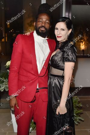 Stock Photo of Roy Luwolt and Jill Kargman attends the Footwear News Achievement Awards at the IAC on November 28, 2017 in New York