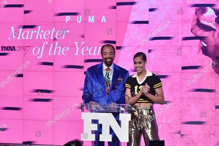 Walt Frazier and Skylar Diggins attend the Footwear News Achievement Awards at the IAC on November 28, 2017 in New York