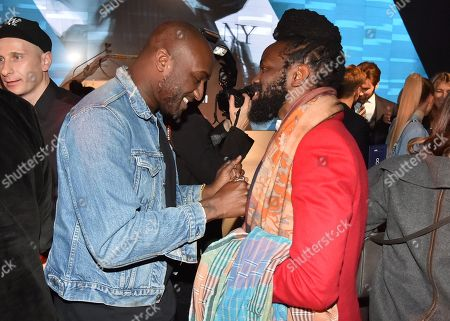 Stock Picture of Roy Luwolt and Virgil Abloh attend the Footwear News Achievement Awards at the IAC on November 28, 2017 in New York