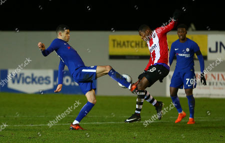 Isaac Christie-Davies of Chelsea battles for the ball with Kyle Edwards of Exeter City