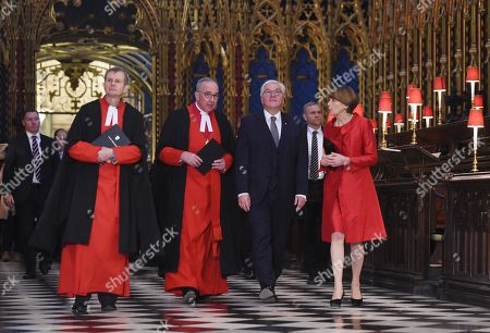 Germany's President Frank-Walter Steinmeier (2-R) and his wife Elke Budenbender (R) stand with The Very Reverend Dr John Hall (2-L), Dean of Westminster Abbey during a visit to the Anglican Westminster Abbey in London, Britain 28 November 2017. Frank-Walter Steinmeier and his wife are on a one day official visit to London.