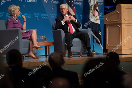 Secretary of State Rex Tillerson participates in a conversation with Wilson Center President and CEO Jane Harman at the Wilson Center in Washington
