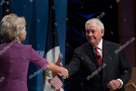 Secretary of State Rex Tillerson shakes hands with Wilson Center President and CEO Jane Harman at the Wilson Center in Washington
