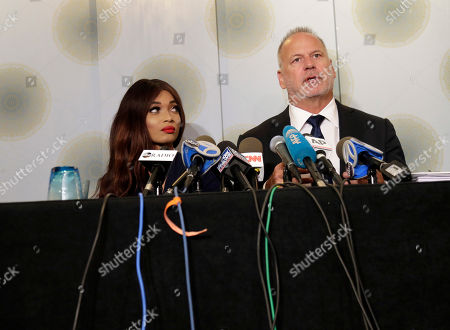 Stock Picture of Kadian Noble, Jeff Herman. Kadian Noble, left, and her attorney Jeff Herman appear at a news conference in New York, . On Monday, Noble filed a lawsuit against the disgraced movie producer under a federal sex-trafficking statute. She alleges that Weinstein sexually assaulted her in 2014 during the Cannes Film Festival