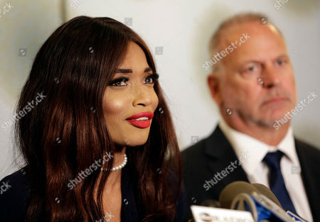 Stock Photo of Kadian Noble speaks during a news conference in New York, . Harvey Weinstein engaged in sex trafficking by traveling to Europe and luring Noble, an aspiring actress, from London to a hotel room where he sexually assaulted her, according to a new lawsuit filed against the disgraced movie producer