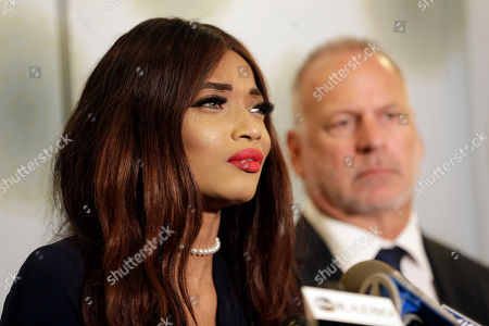 Stock Picture of Kadian Noble speaks during a news conference in New York, . Harvey Weinstein engaged in sex trafficking by traveling to Europe and luring Noble, an aspiring actress, from London to a hotel room where he sexually assaulted her, according to a new lawsuit filed against the disgraced movie producer