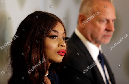 Kadian Noble participates in a news conference in New York, . Harvey Weinstein engaged in sex trafficking by traveling to Europe and luring Noble, an aspiring actress, from London to a hotel room where he sexually assaulted her, according to a new lawsuit filed against the disgraced movie producer