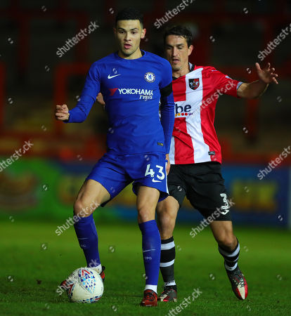 Isaac Christie-Davies of Chelsea holds off Craig Woodman of Exeter City during the Checktrade Trophy match between Exeter City and Chelsea u23 at St James Park on November 28th , Exeter, Devon.
