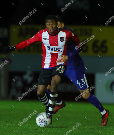 Kyle Edwards of Exeter City battles for the ball with Isaac Christie-Davies of Chelsea during the Checktrade Trophy match between Exeter City and Chelsea u23 at St James Park on November 28th , Exeter, Devon.