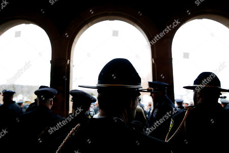 Stock Photo of Thousands of police officers attend the funeral for slain New Kensington Police Officer Brian Shaw at Mount St. Peter Church in New Kensington, Pa., . Shaw was shot and killed during a traffic stop on Friday night