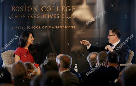 Michael Dell, Linda Henry. Dell Technologies Chairman and CEO Michael Dell, right, speaks during his keynote at a Boston College Chief Executives Club luncheon, moderated by Boston Globe managing director Linda Henry, left, in Boston