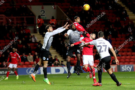 Charlton's Leon Best outjumps Anthony Grant of Peterborough United during Charlton Athletic vs Peterborough United, Sky Bet EFL League 1 Football at The Valley on 28th November 2017