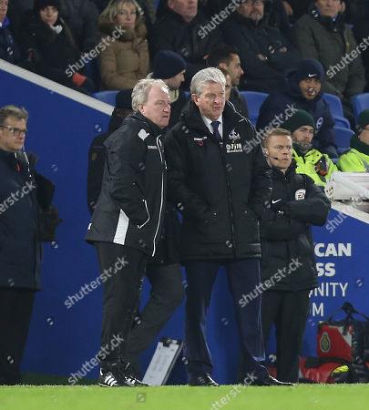Roy Hodgson Manager of Crystal Palace and Crystal Palace assistant manager, Ray Lewington during the Premier League match between Brighton and Hove Albion v Crystal Palace on 28th November 2017 at The Amex Stadium, Brighton.