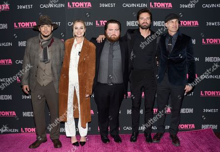"Ricky Russert, Margot Robbie, Paul Walter Hauser, Sebastian Stan, Craig Gillespie. Actors Ricky Russert, left, Margot Robbie, Paul Walter Hauser, Sebastian Stan and director Craig Gillespie pose together at the premiere of ""I, Tonya"" at Village East Cinema, in New York"