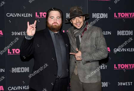 "Stock Photo of Paul Walter Hauser, Ricky Russert. Actors Paul Walter Hauser, left, and Ricky Russert attend the premiere of ""I, Tonya"" at Village East Cinema, in New York"