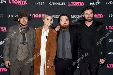 "Ricky Russert, Margot Robbie, Paul Walter Hauser, Sebastian Stan. Actors Ricky Russert, from left, Margot Robbie, Paul Walter Hauser and Sebastian Stan pose together at the premiere of ""I, Tonya"" at Village East Cinema, in New York"