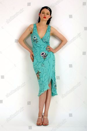 Sophie Ellis-Betor Singer And Fashion Model Wears An Aqua Dress By Collette Dinnigan At Matches .tel: 020 7221 0255