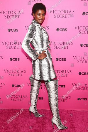 Amilna Estevao attends the Victoria's Secret fashion show viewing party at Spring Studios, in New York