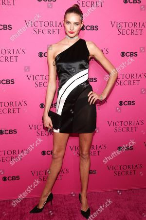 Sanne Vloet attends the Victoria's Secret fashion show viewing party at Spring Studios, in New York