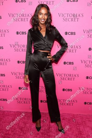 Leila Nda attends the Victoria's Secret fashion show viewing party at Spring Studios, in New York