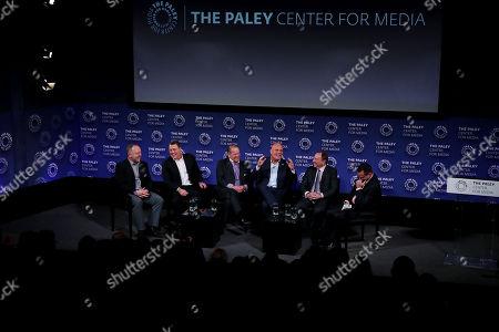 Stock Photo of Bryan Trottier, Pat LaFontaine, Rod Gilbert, Ken Daneyko, Gary Bettman, Tony Luftman