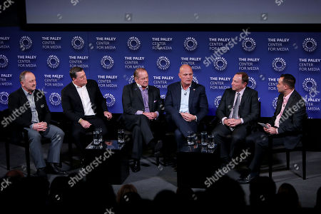 Stock Picture of Bryan Trottier, Pat LaFontaine, Rod Gilbert, Ken Daneyko, Gary Bettman, Tony Luftman