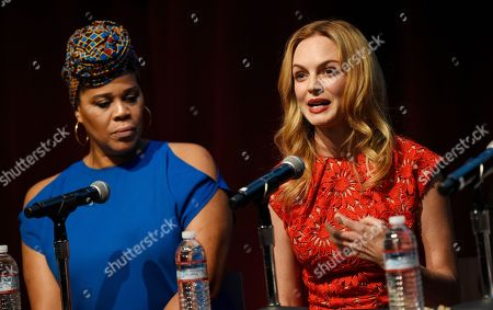 """Heather Graham, Tracy Twinkie Byrd. Actress Heather Graham, right, and casting director Tracy Twinkie Byrd take part in the Women in Film Speaker Series' """"Sexual and Gender Abuse in the Workplace"""" panel discussion, in West Hollywood, Calif"""