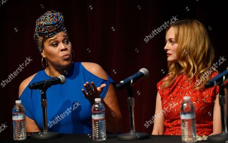 """Heather Graham, Tracy Twinkie Byrd. Casting director Tracy Twinkie Byrd, left, and actress Heather Graham take part in the Women in Film Speaker Series' """"Sexual and Gender Abuse in the Workplace"""" panel discussion, in West Hollywood, Calif"""