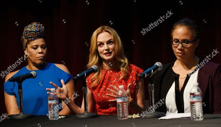 """Tracy Twinkie Byrd, Heather Graham, Kathleen Tarr. From left, panelists Tracy Twinkie Byrd, Heather Graham and Kathleen Tarr take part in the Women in Film Speaker Series' """"Sexual and Gender Abuse in the Workplace"""" panel discussion, in West Hollywood, Calif"""