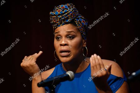 """Casting director Tracy Twinkie Byrd takes part in the Women in Film Speaker Series' """"Sexual and Gender Abuse in the Workplace"""" panel discussion, in West Hollywood, Calif"""
