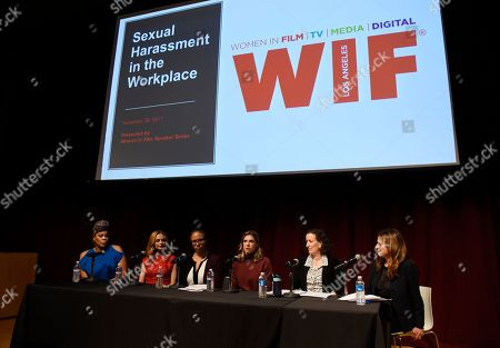 """Heather Graham, Tracy Twinkie Byrd, Kathleen Tarr, Rosette Laursen, Cynthia S. Bamforth, Cathy Schulman. From left, panelists Tracy Twinkie Byrd, Heather Graham, Kathleen Tarr, Rosette Laursen, Cynthia S Bamforth and Cathy Schulman take part in the Women in Film Speaker Series' """"Sexual and Gender Abuse in the Workplace"""" panel discussion, in West Hollywood, Calif"""