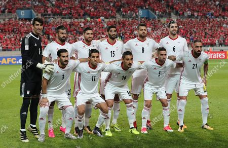On, Iran's team players, back row from left, Alireza Beiranvand, Ramin Rezaeian, Alireza Jahanbakhsh, Mohammad Ansari, Morteza Pouraliganji, Saeid Ezatolahi and front row from left, Ehsan Hajsafi, Vahid Amiri, Reza Ghoochannejhad, Milad Mohammadi, Ashkan Dejagah pose for the team photo before the 2018 Russia World Cup Group A qualifying soccer match against South Korea at Seoul World Cup Stadium in Seoul, South Korea