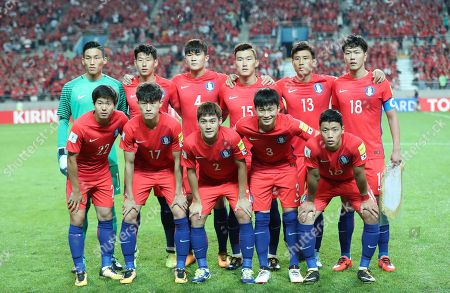 On, South Korea's team players, back row from left, Kim Seung-gyu, Son Heung-min, Kim Min-jae, Jang Hyun-soo, Koo Ja-cheol, Kim Young-gwon, and front row from left, Kwon Chang-hoon, Lee Jae-sung, Choi Chul-soon, Kim Jin-su, Hwang Hee-chan, pose for the team photo before the 2018 Russia World Cup Group A qualifying soccer match against Iran at Seoul World Cup Stadium in Seoul, South Korea