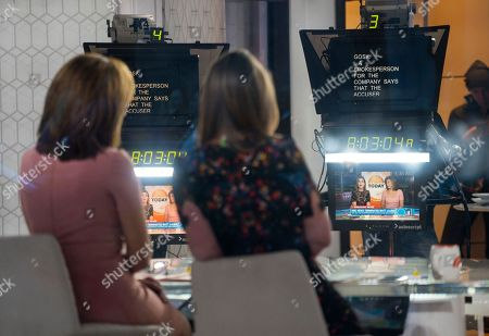 """Co-anchors Hoda Kotb, left, and Savannah Guthrie work on the set of the """"Today"""" show, in New York, after NBC News fired host Matt Lauer. NBC News announced Wednesday, Nov. 29, 2017, that Lauer was fired for """"inappropriate sexual behavior"""