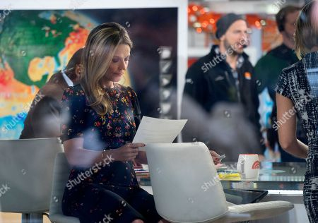 """Anchor Savannah Guthrie works n the set of the """"Today"""" show, in New York, after NBC News fired host Matt Lauer. NBC News announced Wednesday, Nov. 29, 2017, that Lauer was fired for """"inappropriate sexual behavior"""
