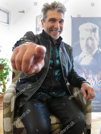 """The Argentine-born singer Diego Verdaguer strikes a pose during an interview in Mexico City. Verdaguer includes banda, electronic music, and pop in his latest album """"Organico"""