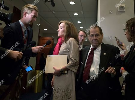 Kathleen Rice, Jerrold Nadler. Reporters pose questions to Rep. Kathleen Rice, D-N.Y., center, as Rep. Jerrold Nadler, D-N.Y., right, and members of the House Democratic Caucus depart a meeting on Capitol Hill in the wake of reports of sexual misconduct by Rep. John Conyers, D-Mich., the longest-serving member of the House, in Washington, . Conyers, 88, returned to his home in Detroit, Tuesday