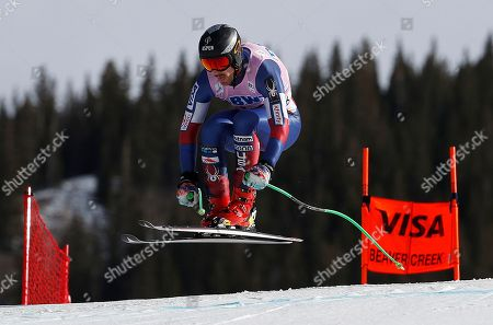 United States' Wiley Maple competes during a Men's World Cup downhill skiing training run, in Beaver Creek, Colo