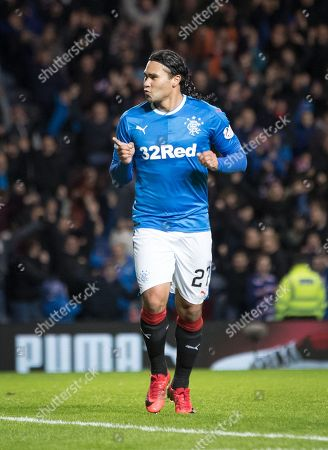 Carlos Pena of Rangers celebrates scoring to  to give them a 2-0 lead