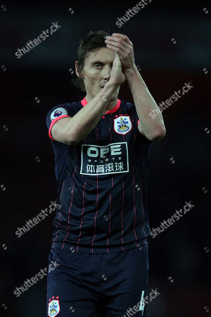 Dean Whitehead of Huddersfield Town applauds the visiting fans after Arsenal vs Huddersfield Town, Premier League Football at the Emirates Stadium on 29th November 2017