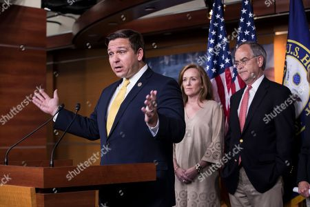Ron DeSantis, Kathleen Rice, Jim Cooper. Rep. Ron DeSantis, R-Fla.,left, joined by Rep. Kathleen Rice, D-N.Y., and Rep. Jim Cooper, D-Tenn., hold a news conference to call for ending the secrecy surrounding a congressional fund that members of Congress have used to quietly settle sexual harassment complaints with taxpayer funds in the millions of dollars, on Capitol Hill in Washington